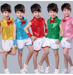 Boy modern jazz dance costumes sequin outfits singers host stage kindergarten show performance dance tops and shorts